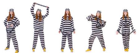 Vrouw gevangene geïsoleerd op wit Stockfoto