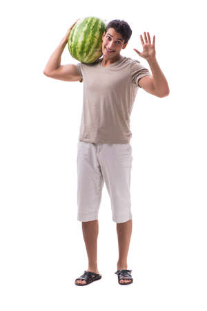 Young man with watermelon isolated on white