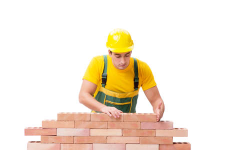 The handsome construction worker building brick wall 免版税图像 - 91651687