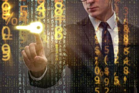 Businessman in digital security concept