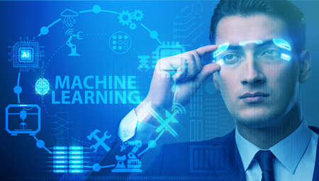 Businessman with futuristic glasses in machine learning concept