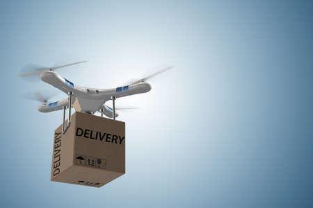 concept de livraison de drone avec boîte dans l & # 39 ; air - rendu 3d Banque d'images