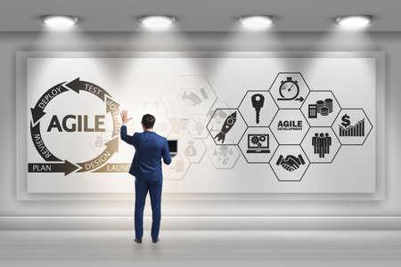 Businessman in agile software development concept Banque d'images