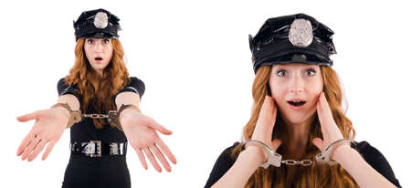 Redhead police officer isolated on white Stock Photo