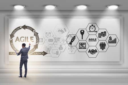 Businessman in agile software development concept Stockfoto