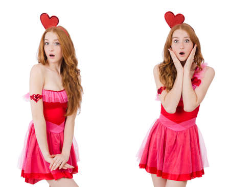 Pretty young model in mini pink dress isolated on white Stock Photo