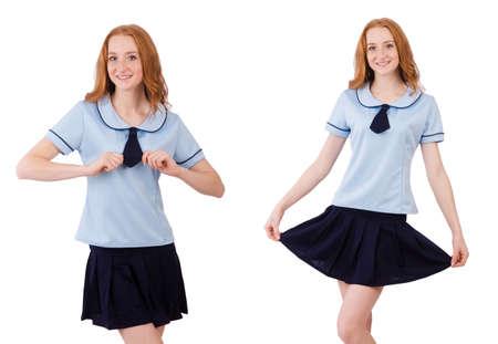 Schoolgirl isolated on the white Stock Photo