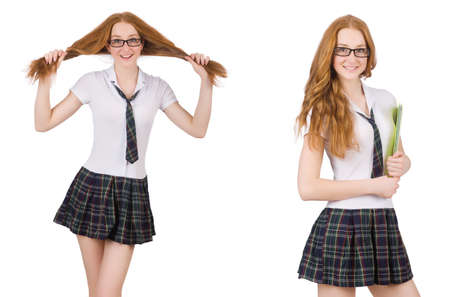 Schoolgirl isolated on the white Stock Photo