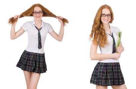 Schoolmeisje dat op het wit wordt geïsoleerd