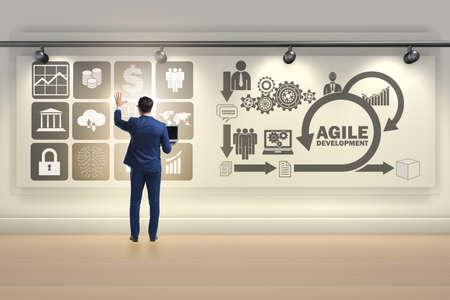 Businessman in agile software development concept Foto de archivo