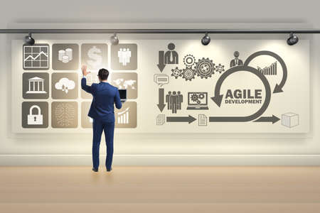 Businessman in agile software development concept Stockfoto