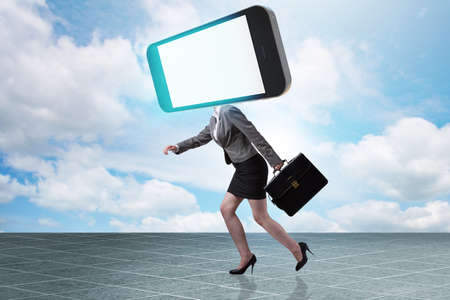 Mobile phone zombie under the influence of smartphone Stock Photo