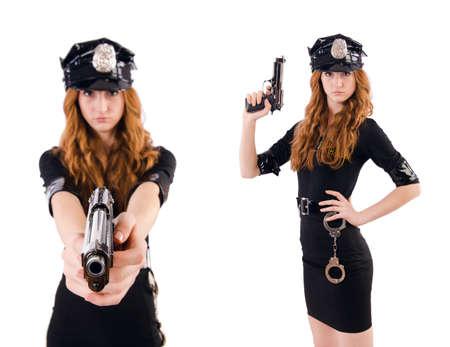 Polícia feminina isolada no branco
