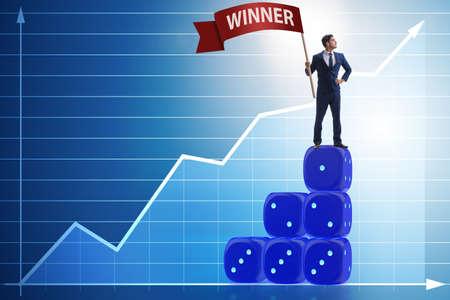 Succesvolle zakenman in het winnen van bedrijfsconcept