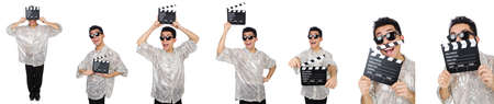 Man with movie clapperboard isolated on white Stok Fotoğraf