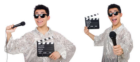 Young man with microphone and clapperboard isolated on white Stok Fotoğraf