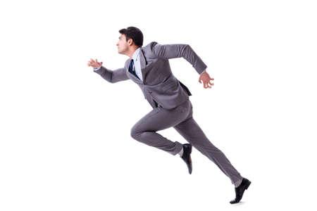 Het jonge zakenman lopen vooruit geïsoleerd op wit