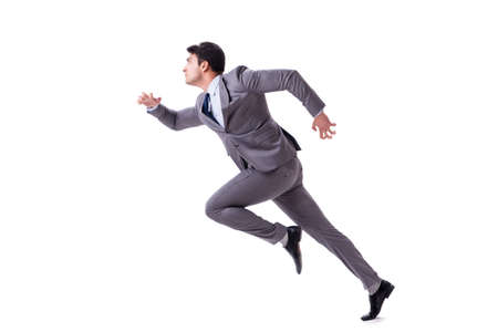 Young businessman running forward isolated on white Banco de Imagens - 90799618