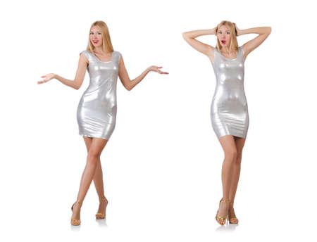 白で隔離銀のドレスの若い女性 写真素材 - 91078443
