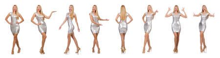 Young woman in silver dress isolated on white background Reklamní fotografie
