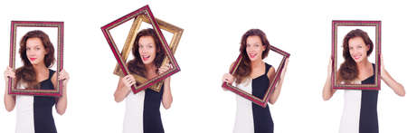 Woman with picture frame on white background