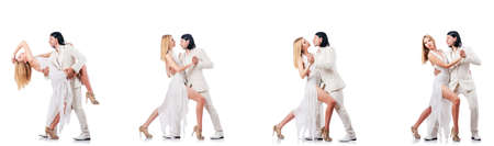 Pair dancing dances isolated on white background