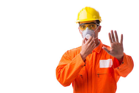 Construction worker with protective mask isolated on white Stock fotó