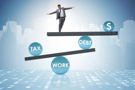 Businessman in debt and tax business concept Reklamní fotografie
