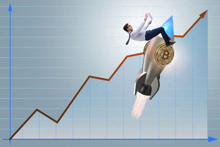 Businessman flying on rocket in bitcoin price rising concept Imagens - 93113250