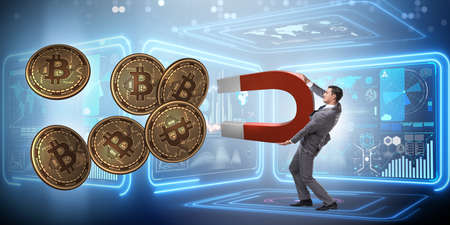 Businessman mining bitcoins with horseshoe magnet