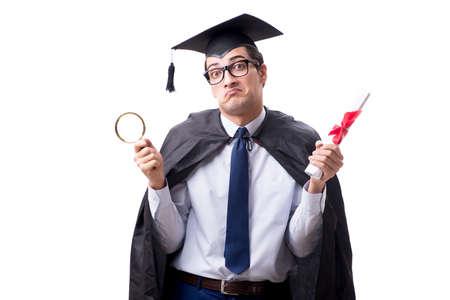 Student graduate isolated on white background Stockfoto