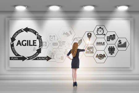 Businesswoman in agile software development concept