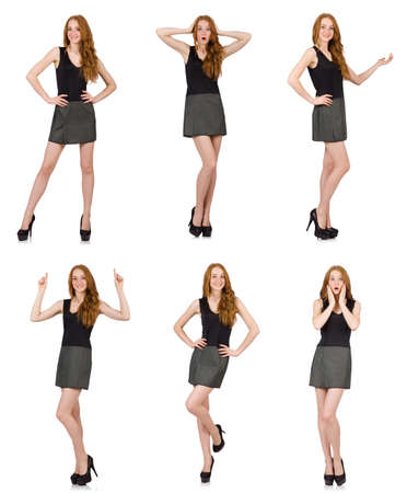 Red hair girl in gray dress isolated on white background Stock Photo