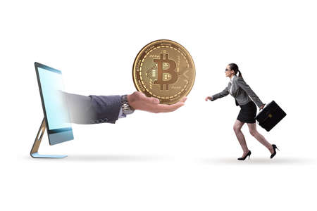 Businesswoman in bitcoin price increase concept Zdjęcie Seryjne