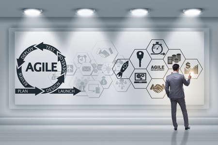 Businessman in agile software development concept Stock Photo