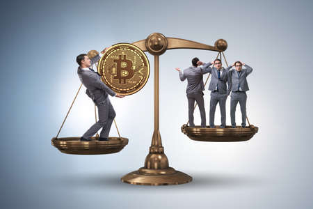 Businessman on scales with bitcoins and other businessmen