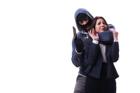 Businesswoman is kidnapped by the gunman Archivio Fotografico