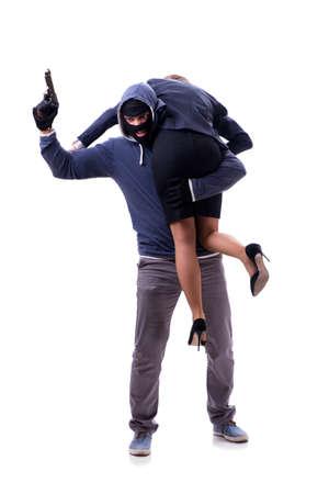 Businesswoman is kidnapped by the gunman Zdjęcie Seryjne