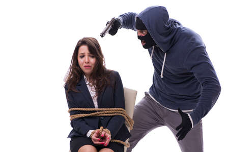 Kidnapper with tied woman isolated on white Stock Photo - 94046671