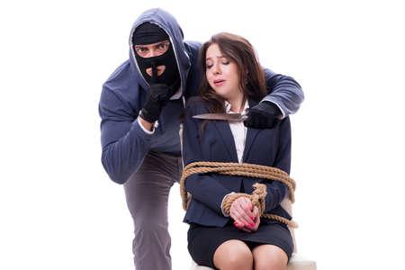Knifeman threatening tied woman