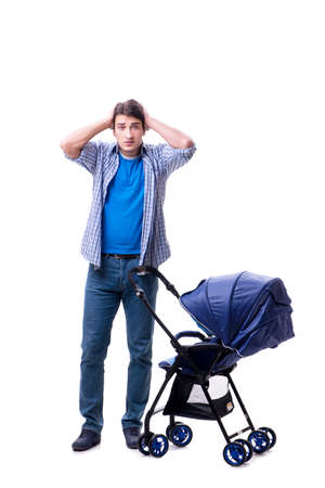 Young dad with baby pram isolated on white Фото со стока