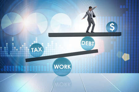 Businessman in debt and tax business concept 스톡 콘텐츠