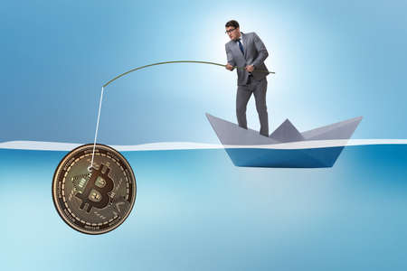 Businessman fishing bitcoins in cryptocurrency mining concept 写真素材