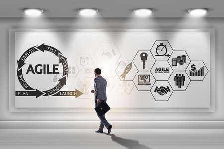 Businessman in agile software development concept 스톡 콘텐츠