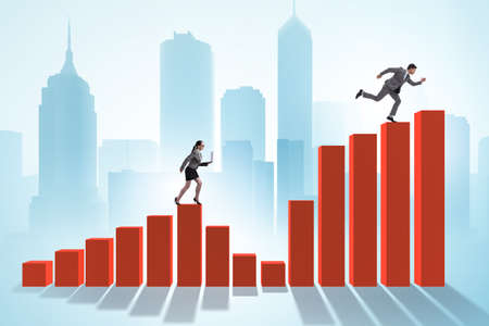 Chasing business people in competition concept Stock Photo