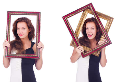 Woman with picture frame on white Stock Photo