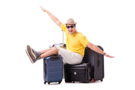 Hombre joven feliz que va de vacaciones de verano aislado en blanco Foto de archivo - 94219409