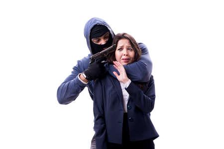 Businesswoman is kidnapped by the gunman Standard-Bild