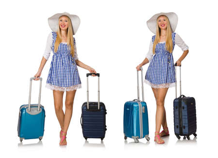 Woman ready for summer travel isolated on white background Stock Photo