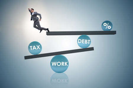 Businessman in debt and tax business concept Banque d'images